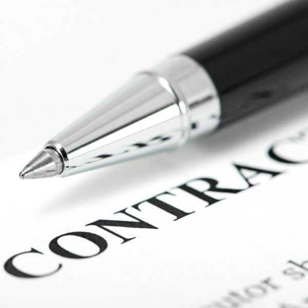 paper for contract and pen